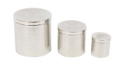 Deco 79 Hammered Round Canisters with Lid, Silver, 20cm D x 20cm W x 20cm H