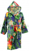 Sponge Dressing Gown with Hood Flower Medium