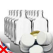 Brand 10 pocket flask bottles 200ml for wine, whisky or spirits with WHITE screw caps