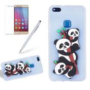 Huawei P10 Lite Case,Girlyard Premium Ultra Thin Colourful Art Painted [Cartoon Panda] Pattern Lightweight Soft Silicone Gel TPU Shockproof Protective Case for Huawei P10 Lite-White
