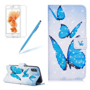 Case for iPhone X, Girlyard New 3D Painted Pattern Bling Book Style Magnetic Snap PU Leather Flip Wallet Case + [Free Screen Protector] + [Double Hand Straps] Anti Scratch Full Body Protective Skin Cove for iPhone X 15cm -Blue butterfly