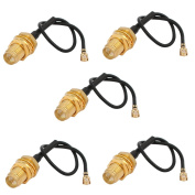 sourcingmap RF1.37 Soldering Wire IPEX to SMA Antenna Router WiFi Pigtail Cable 10cm 5pcs