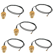 sourcingmap 5 Pcs RF0.81 Soldering Wire IPEX4 to RP-SMA Antenna WiFi Pigtail Cable 30cm Long for Router