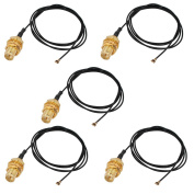 sourcingmap 5 Pcs RF0.81 Soldering Wire IPEX4 to RP-SMA Antenna WiFi Pigtail Cable 50cm Long for Router