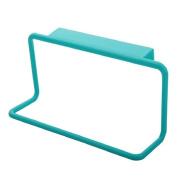 ZHOUBA Plastic Towel Rack Hanging Holder Organiser Bathroom Kitchen Cabinet Cupboard Hanger - Blue