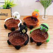 UChic 2Pcs Halloween Candy Basket,Ghost Pumpkin Head Doll Decoration Bowl for Biscuit Fruit Biscuit Basket Pumpkin Black Cat Ghost Hand-woven Decoration Home Decor Gift Packages Pattern Random