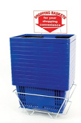 Set of 12 Retails Blue Standard-Size Shopping Baskets with Plastic Handles