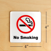 No Smoking Sign 10cm x 10cm (Acrylic-Classic) with 3M Self Adhesive; Rust Free; For Car, Business, Indoor, or Outdoor Use