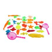 Homyl 30pcs Babies Bath Time Magnetic Fishing Toy Cute Fish Model Fishing Rod Set Kids Water Toy Activity Funny