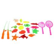 Homyl 20Pcs Babies Bath Time Magnetic Fishing Toy Cute Fish Model Fishing Rod Set Kids Water Toy Activity Funny