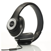 Ausdom Over-Ear Wired Headphones Stereo Headset with Bulit-in Mic Comforatble Lightweight Leather Earphones - Black