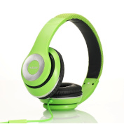 Ausdom Over-Ear Wired Headphones Stereo Headset with Bulit-in Mic Comforatble Lightweight Leather Earphones - Green