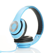 Ausdom Over-Ear Wired Headphones Stereo Headset with Bulit-in Mic Comforatble Lightweight Leather Earphones - Blue