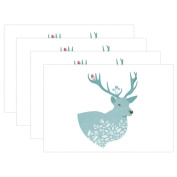 BENNIGIRY Kitchen Dining Room Placemat Table Mat, Animal Elk 30cm x 46cm Polyester Table Place Mat 1 PCS