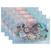 BENNIGIRY Kitchen Dining Room Placemat Table Mat, Abstract Watercolour Animal Horse 30cm x 46cm Polyester Table Place Mat 1 PCS