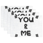 BENNIGIRY Kitchen Dining Room Placemat Table Mat, You And Me 30cm x 46cm Polyester Table Place Mat 1 PCS