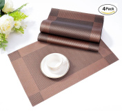 Placemats,Table Mats ISIYINER Washable Place Mats Heat Resistant PVC Set of 4 Non-slip Dishwasher Safe for Home Restaurant