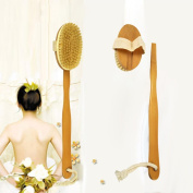 1Pcs Body Brush, Spritumn Shower Body Natural Boar Bristle Brush Massager Back Scrubber with Detachable Long Wooden Handle, Massaging, Exfoliating, Blood Circulation