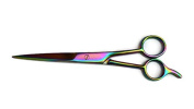 Rainbow Multi Coloured Hairdressing Scissors 19cm Finger Rest