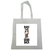 Pussy Grabs Back Trump Woman's Rights Halloween Trick Or Treat Polyester White Tote Bag 15x16x 3.5