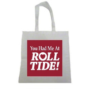 Yo Had Me at Roll Tide Alabama Halloween Trick Or Treat Polyester White Tote Bag 15x16x 3.5