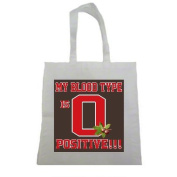 My Blood Type is O Positive Buckeyes Halloween Trick Or Treat Polyester White Tote Bag 15x16x 3.5