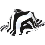 Awesome 80's Party Fedora Hat Accessory, Black and White, Plastic , 28cm x 25cm