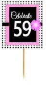 CakeSupplyShop Item#BPP-059 Happy 59th Birthday Pink w. Black Polka Dot Novelty Cupcake Decoration Topper Picks -12ct
