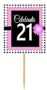 CakeSupplyShop Item#BPP-021 Happy 21st Birthday Pink w. Black Polka Dot Novelty Cupcake Decoration Topper Picks -12ct
