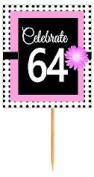 CakeSupplyShop Item#BPP-064 Happy 64th Birthday Pink w. Black Polka Dot Novelty Cupcake Decoration Topper Picks -12ct