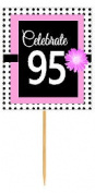 CakeSupplyShop Item#BPP-095 Happy 95th Birthday Pink w. Black Polka Dot Novelty Cupcake Decoration Topper Picks -12ct