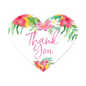 Tropical Floral Garden Party Wedding, Heart Label Stickers, Thank You, 75-Pack, Destination Wedding Hawaii Decorations