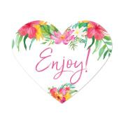 Tropical Floral Garden Party Wedding, Heart Label Stickers, Enjoy!, 75-Pack, Destination Wedding Miami Decorations