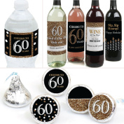 Adult 60th Birthday - Gold - Birthday Party Decorations & Favours Kit - Wine, Water and Candy Labels Trio Sticker Set