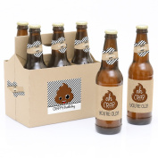 Oh Crap, You're Old! - 6 Poop Birthday Party Beer Bottle Label Stickers and 1 Carrier