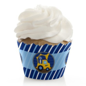 Construction Truck - Baby Shower or Birthday Cupcake Wrappers - Set of 12