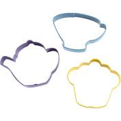 Tea Party Coloured Metal Cookie Cutter Set, Set/3