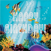 Party Creations Ocean Party Happy Birthday Lunch Napkins, 16 Ct
