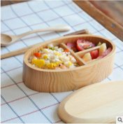 GuiXinWeiHeng 2pcs Simple and environmentally friendly lunch box single-layer lunch box solid wood lunch boxes