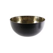 Saveur et Degustation ka1946 martelée-24 cm Salad Bowl, Stainless Steel, Noir-Or 23.9 x 23.9 x 11.3 cm