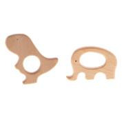 Baoblaze 2pcs Unfinished Wooden Teething Rings Animal Shape Baby Teether Sensory Toys