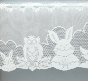 Easter Window Curtain Rabbit Owl in White Approx. Height 35x150 cm Jacquard Curtain with Eyelets TYP518