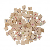 Refaxi Wooden Scrabble Tiles Colourful Letters Numbers For Crafts Wood Alphabet Toy 100x