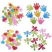 ULTNICE Glitter Stickers Foam Star Heart Palm Sticker Crafts for Wall Decor 142pcs