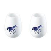 ZENS White Porcelain Sake Cup Set Wine Cups with Horse Pattern, Ideal for Japanese Sake Soju