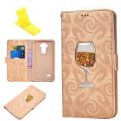 Bling Wallet Case for LG Stylus 2, SXUUXB Beautiful Cool Quicksand Flowing Liquid Wine Glass Pattern with Kickstand Cash Holder and Magnetic Buckle Back Leather Cover for LG LS775/Stylus 2, 14cm , - Gold x 1 Free Bracket