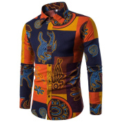 Mens Funky Printed Linen Shirt Long Sleeve Fancy Floral Tops Unique Pattern