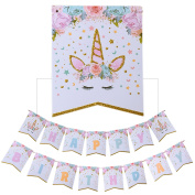 AMZTM Happy Birthday Bunting Banner Rainbow Unicorn Themed Party Decorations For Cute Fantasy Fairy Girls Birthday Party Supplies