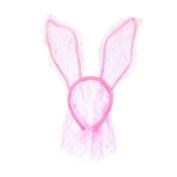 BESTOYARD Rabbit Ears Headband Easter Bunny Mask Lace Bunny Ears with Veil