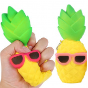 1Pc Random Jumbo Fruit Squishy Pineapple Glasses Slow Rising Squishies Charms Key Chain Stress Relief Squeeze Toys